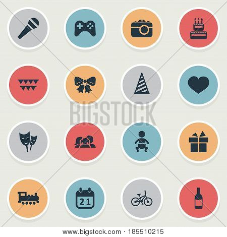 Vector Illustration Set Of Simple Celebration Icons. Elements Soul, Resonate, Train And Other Synonyms Fizz, Theater And Flags.