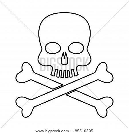 skull bones danger poison laboratory line vector illustration