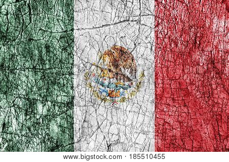 Grudge stone painted Mexico flag close up
