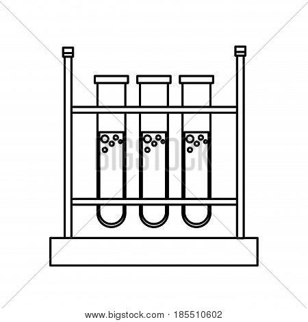 test tube rack laboratory chemistry equipment line vector illustration