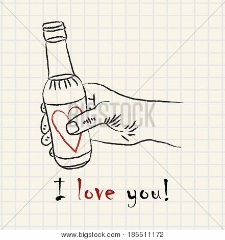 Hand drawn hand holding a lovely bottle on mathematical square paper