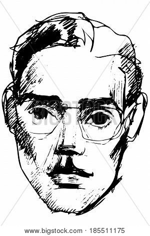 Vector Sketch Of A Young Guy In Glasses With Sad Eyes