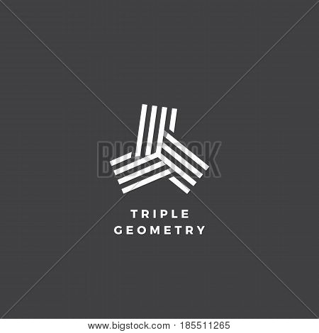 Triple Geometry Abstract Minimal Vector Sign, Symbol or Logo Template. Isolated on Dark Background.