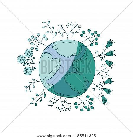 watercolor silhouette of planet earth surrounded by plants and trees on aquamarine vector illustration