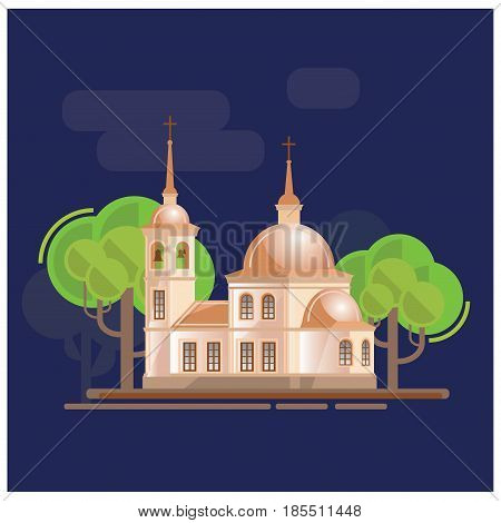 Church and trees ladscape vector illustration. Made in cartoon style.