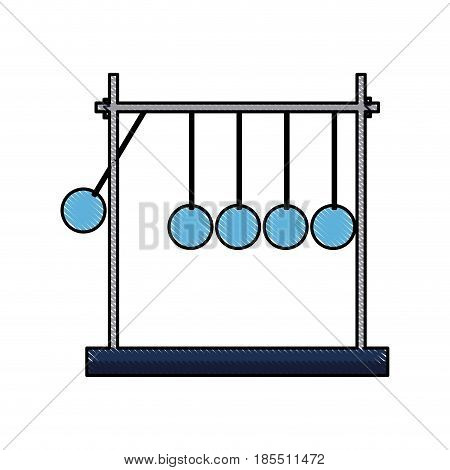 drawing newtons cradle momentum pendulum metal vector illustration