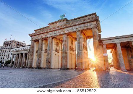 Berlin - Brandenburg Gate at sunrise Germany