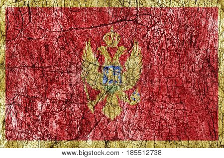 Grudge stone painted Montenegro flag close up