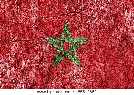 Grudge stone painted Morocco flag close up