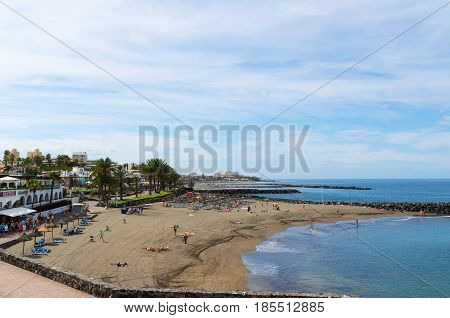 PLAYA LAS AMERICAS; Canary islands Tenerife Spain - March 22 2017.Coastal view of Bobo beach (Playa del Bobo) in Costa Adeje Tenerife.