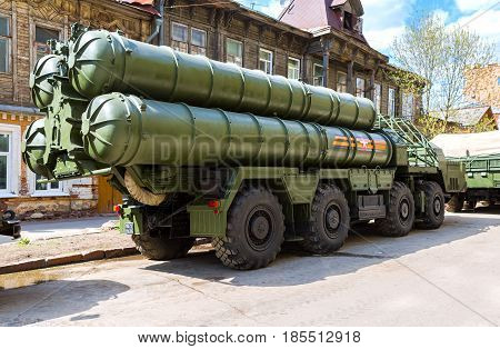 Samara Russia - May 7 2017: Russian anti-aircraft missile system (SAM) S-300 parked up on the city street
