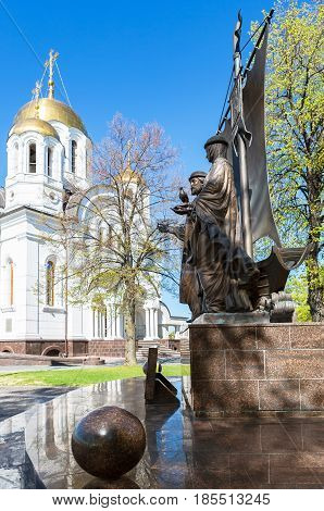 Samara Russia - May 7 2017: Monument to the russian orthodox saints Peter and Fevronia of Murom patrons of the family and marriage