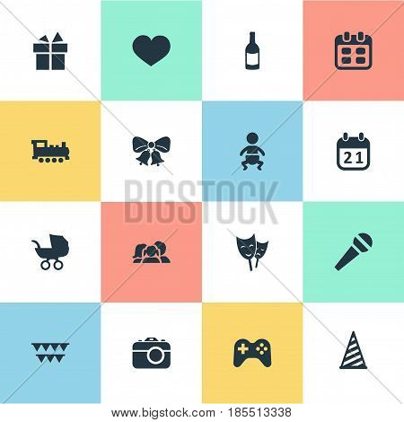 Vector Illustration Set Of Simple Holiday Icons. Elements Beverage, Resonate, Speech And Other Synonyms Theater, Play And Fizz.
