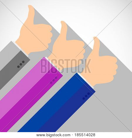 Hands with thumb up, like social media background, web network symbol, finger sign, flat icon design illustration.