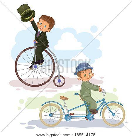A set of illustrations of small children ride retro bikes