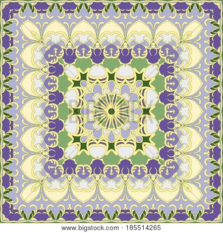 Lilac and yellow colored handkerchief. A vivid Oriental pattern square shape for a scarf. Vector illustration.