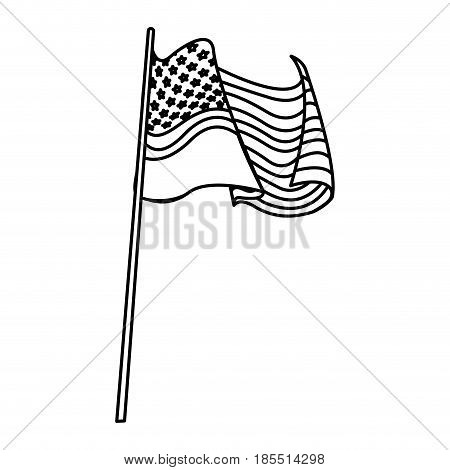 united states of america flag waving pole line vector illustration