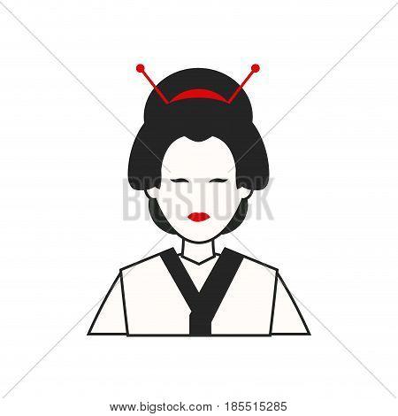 character japanese girl geisha traditional costumen vector illustration