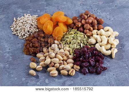 bowls of various dried fruits - food and drink