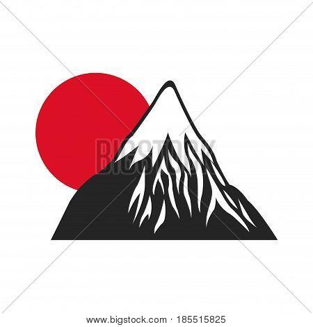 mount fuji sun japan landscape natural image vector illustration