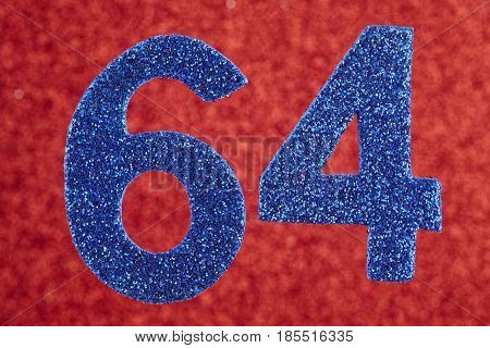 Number sixty-four blue color over a red background. Anniversary. Horizontal