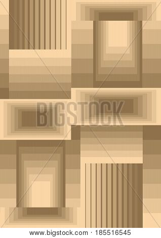 Cubist background composed from rectangles with optical 3d effect, low contrasting beige and light brown design, vector EPS 10