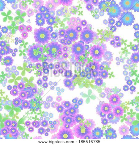 Abstract flowers, Blue pink violet and green floral pattern, Leaves and blooms, Colorful petal leafy texture background, Seamless illustration