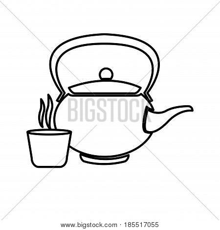 japanese teapot teacup drink oriental line vector illustration