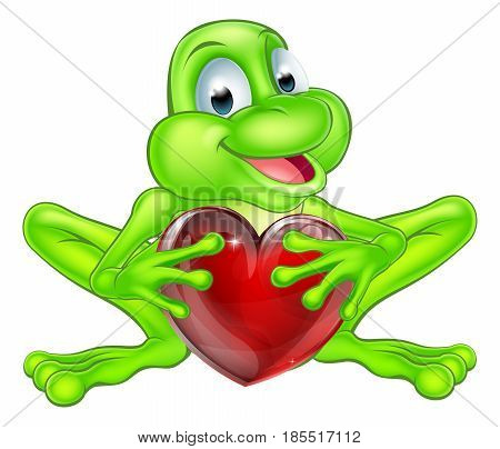 An illustration of a cute cartoon frog mascot character holding a heart shape