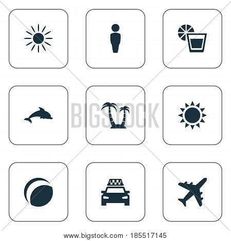 Vector Illustration Set Of Simple Seaside Icons. Elements Hot, Beverage, Male And Other Synonyms Taxi, Beverage And Holiday.