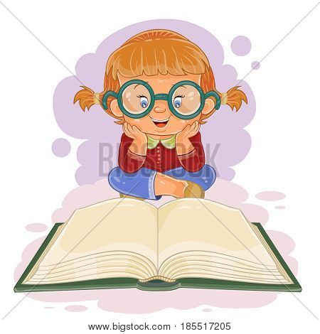 illustration of small girl with glasses reading a book