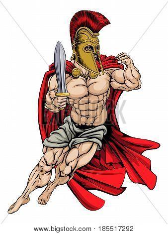 An illustration of a muscular strong Spartan Warrior