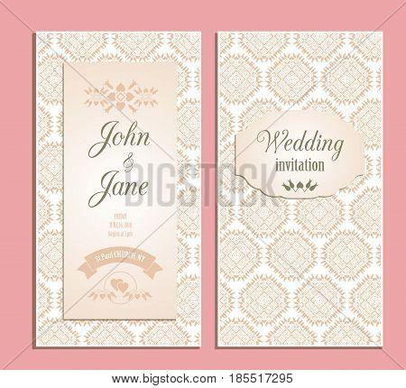 Wedding invitation vector illustration. Floral decorative celebration date design template. Elegant decor wedding event pattern.