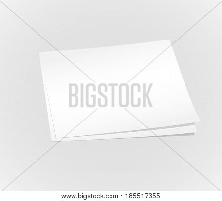 Blank white paper on wall vector illustration. Office message template.