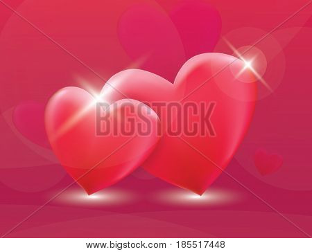 Two heart symbol as ramantic love concept vector illustration. Red background. Amour feeling greeting card template.