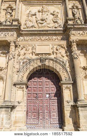 Savior Chapel (El Salvador) detail facade Ubeda Jaen Spain