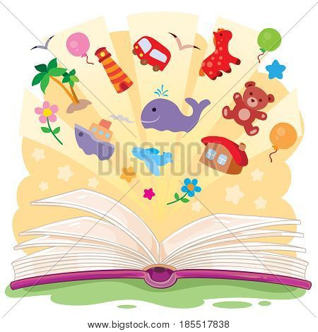 illustration of an open book and the knowledge that it contains.