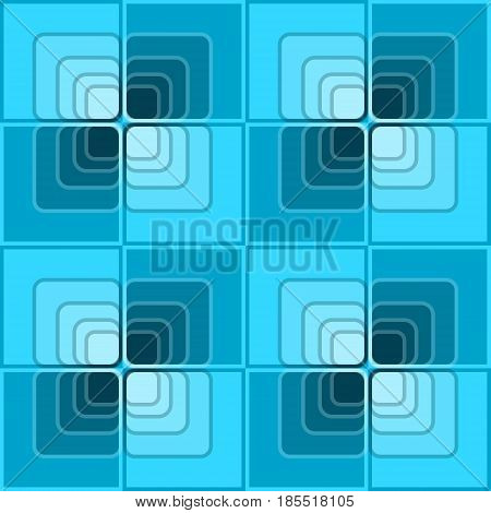 Seamless abstract background with blue checker patterns in minimal design, 3d optical art illusion, vector EPS 10