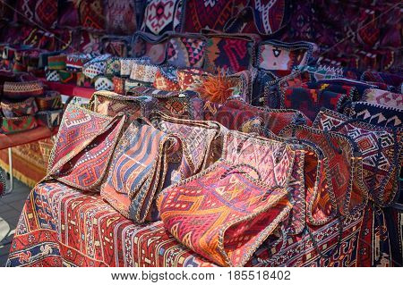 Handmade bags made of fabric with oriental ornaments from Armenia
