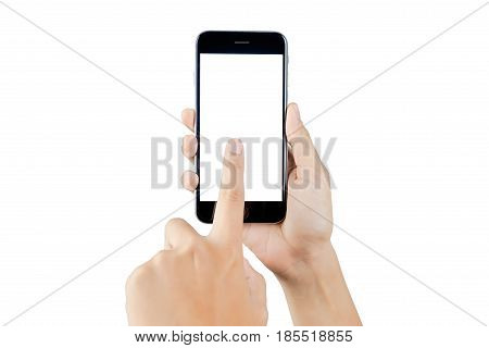 hand holding smartphone blank screen isolated. hand using smartphone on white. hand using smartphone isolated. hand using black color smartphone. woman hand using smartphone. hand holding smartphone. black color smartphone.