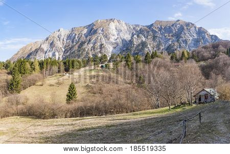 Mountain Monte Chiampon and Monte Deneal in Gemona Udine in Italy in spring