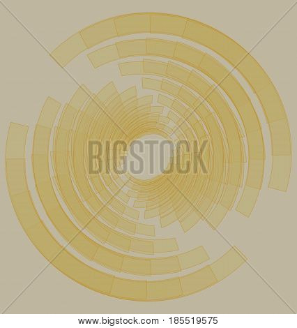 Low contrasting abstract background with yellow sketched circle element on beige surface, vector EPS 10