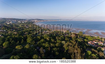 Editorial SWANSEA, UK - MAY 07, 2017: Drone view of Swansea east and the Bay, looking towards Port Talbot from Clyne Park.