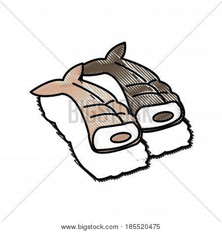 drawing japanese fish fresh nigiri sushi rice menu vector illustration