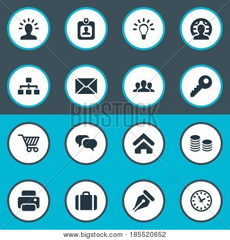 Vector Illustration Set Of Simple Business Icons. Elements Group, Printing Machine, Password And Other Synonyms Member, Currency And Letter.