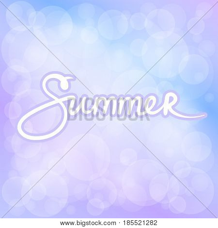 Lilac Blue Soft Bright Abstract Bokeh Background and Text Summer Soft Glow of the Sun Defocused Lights Summer Time Vector Illustration