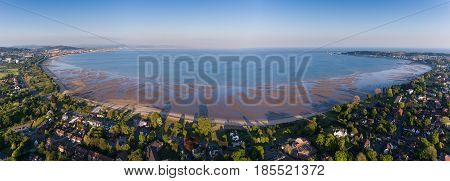 Editorial SWANSEA, UK - MAY 07, 2017: Panoramic drone view of the coastline of Swansea Bay, South Wales, UK