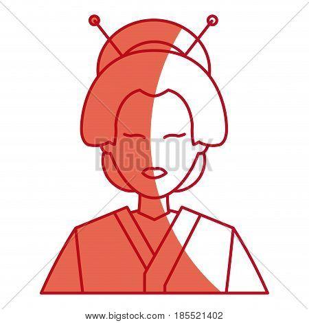 character japanese girl geisha traditional costumen red line vector illustration
