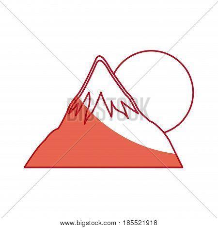 japanese fuji mount sun landscape panorama shadow vector illustration