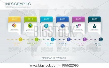 Vector infographics timeline design template with 3D paper label and graph 6 steps options. For workflow, layout, diagram infograph, business infographic, flowchart, process diagram, time line, chart